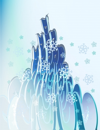 abstract blue elliptic shapes with falling snow card vector template Vector