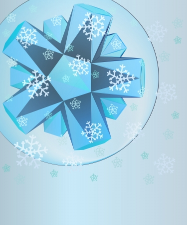 abstract blue triangle shape in bubble with falling snow card vector template Stock Vector - 16157699