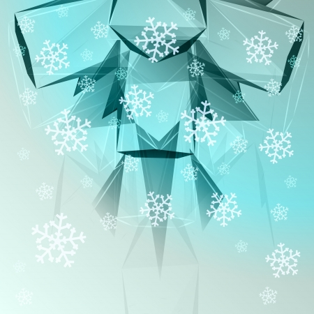 abstract blue triangular shape with falling snow card vector template Stock Vector - 16157710