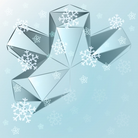 abstract blue triangle shape with falling snow card vector template Stock Vector - 16157695
