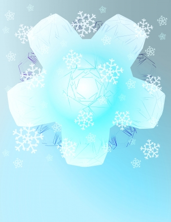 abstract white snowflake with falling snow card vector template Stock Vector - 16157715