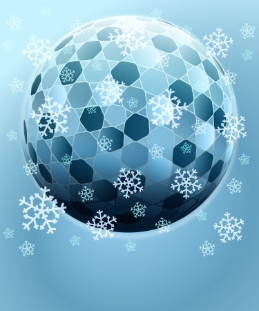 blue winter hexagonal ball with falling snow card vector template Vector