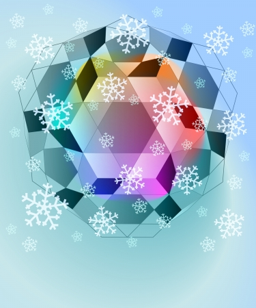blue winter cubic shapes with falling snow card vector template Vector