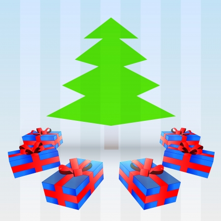 blue gifts around green tree down on striped blue background vector illustration Vector