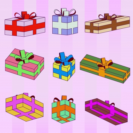 colorful gift boxes series striped pattern background vector Vector