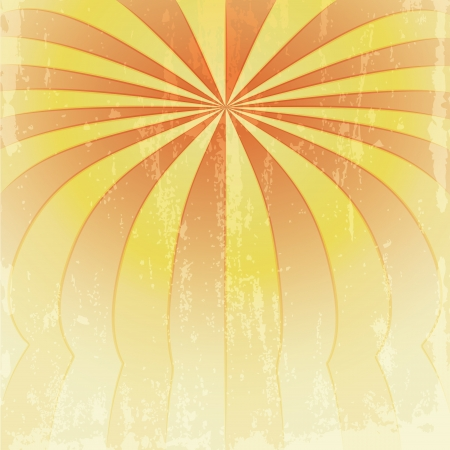 orange yellow bended stripes to center point grunge vector template Vector
