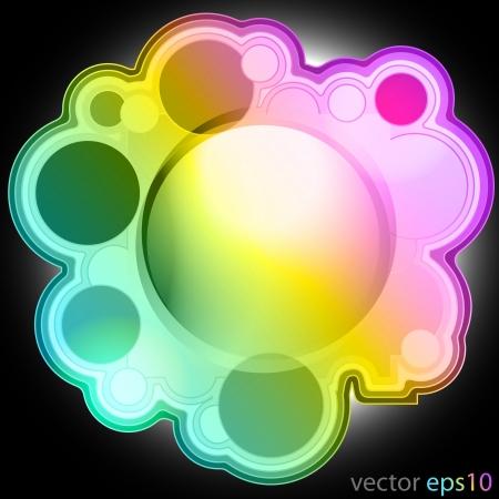 colorul music bubble editable frame label vector illustration