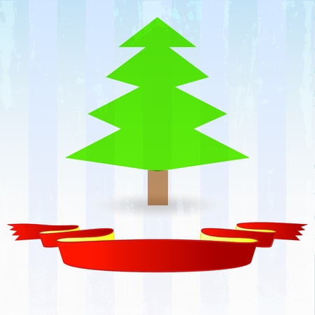 green tree with red ribbon down on striped blue background vector illustration Vector