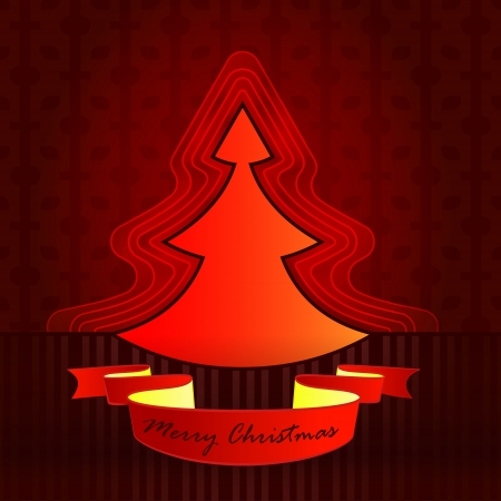 modern shape designed red brown christmas tree vector card illustration Vector