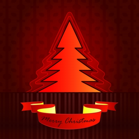 tree silhouette designed red brown christmas vector card Stock Vector - 16400513