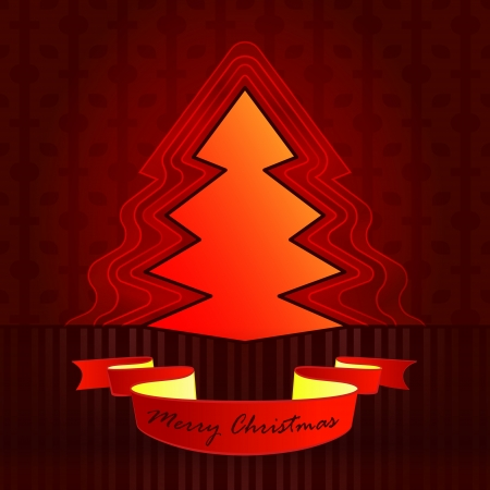 sharp shape designed red brown christmas tree vector card illustration Stock Vector - 16400552