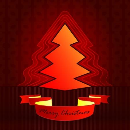 sharp shape designed red brown christmas tree vector card illustration Stock Vector - 16400552