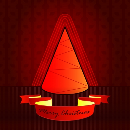 conical shape designed red brown christmas tree vector card illustration Stock Vector - 16400517