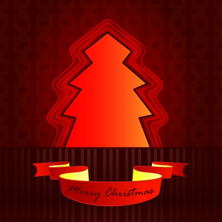 classic shape designed red brown christmas tree vector card Stock Vector - 16400514