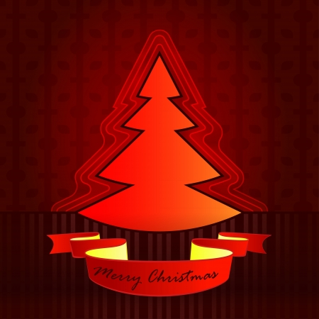 tree shape designed red brown christmas vector card Stock Vector - 16400516