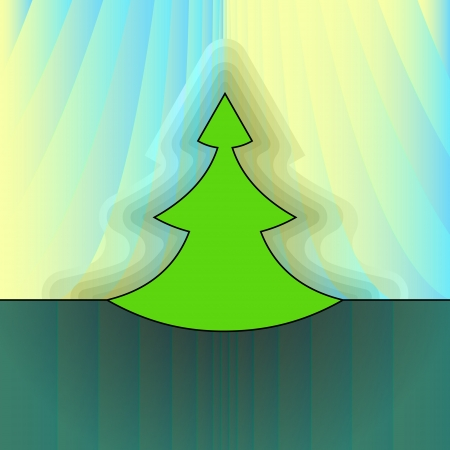 modern shape christmas tree on light yellow curtain vector card Stock Vector - 16420032