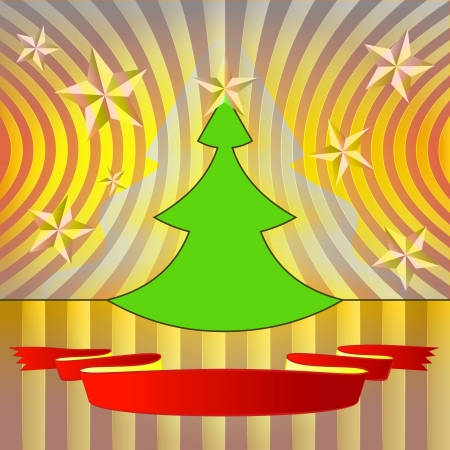 modern shape christmas tree with yellow stars and ribbon vector Stock Vector - 16420622