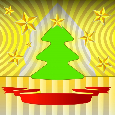 round shape christmas tree on yellow with stars and ribbon  Stock Vector - 16420614