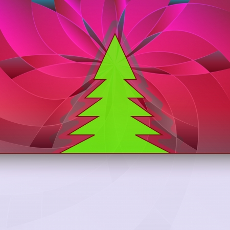 christmas tree silhouette on red pink floral card motive vector  Stock Vector - 16420255