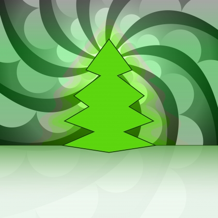 sharp shape christmas tree on green circle swirl vector card Stock Vector - 16420151