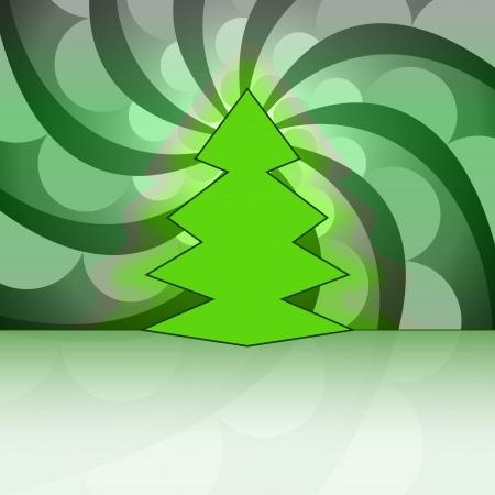 sharp shape christmas tree on green circle swirl vector card Stock Vector - 16420151