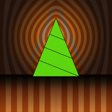 triangular christmas tree on brown center striped background vector card Stock Vector - 16419986