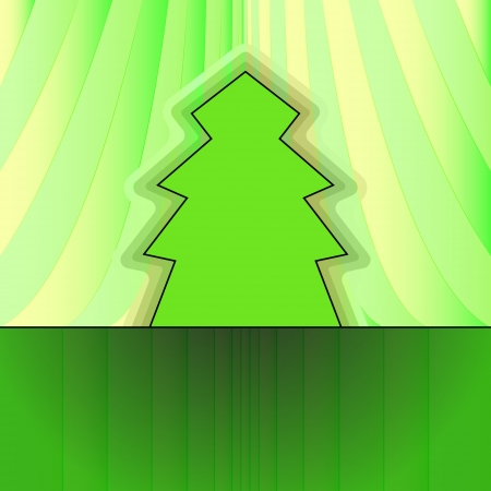 classic shape designed tree on green curtain christmas vector card Stock Vector - 16419993
