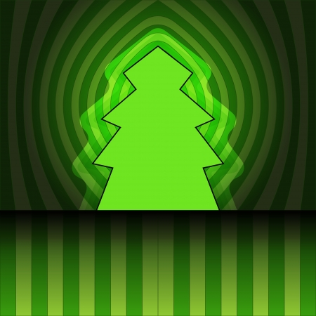 tree shape designed on center striped green background vector card Stock Vector - 16419989