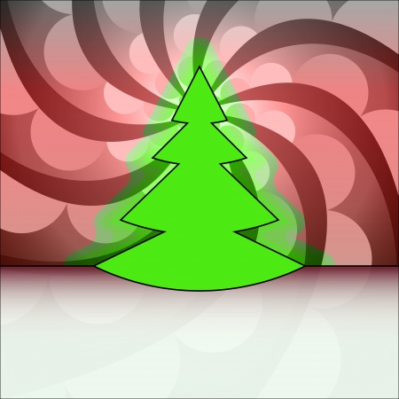 tree shape designed on red shaded circle swirl christmas vector card Stock Vector - 16420160