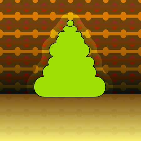 round shape christmas tree on yellow linear pattern vector Stock Vector - 16419943