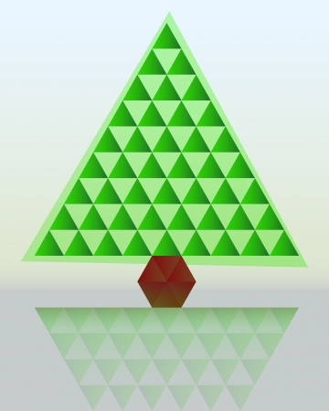 green christmas tree triangle grid connection vector Vector