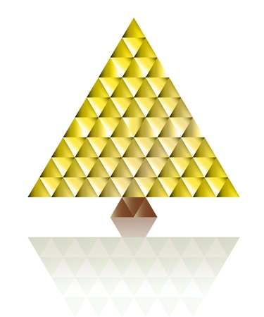gold christmas tree triangle grid concept vector Stock Vector - 16420086
