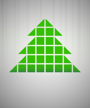 green christmas tree grid silhouette on grey vector Vector