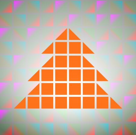 colorful square grid with christmas tree silhouette vector Vector