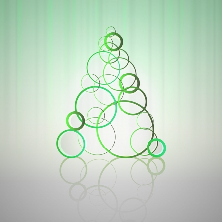 network card: green cool circles concept christmas tree vector card
