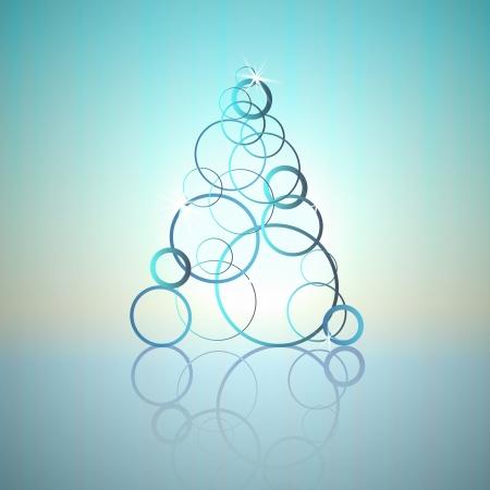 blue cool circles concept christmas tree vector card Vector