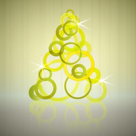 gold empty circles christmas tree vector card Vector