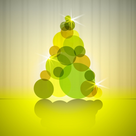 gold circles silhouette christmas tree vector card Vector