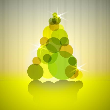 gold circles silhouette christmas tree vector card Stock Vector - 16420156