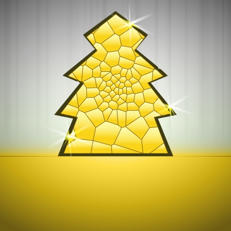alighted: gold alighted line network christmas tree vector card