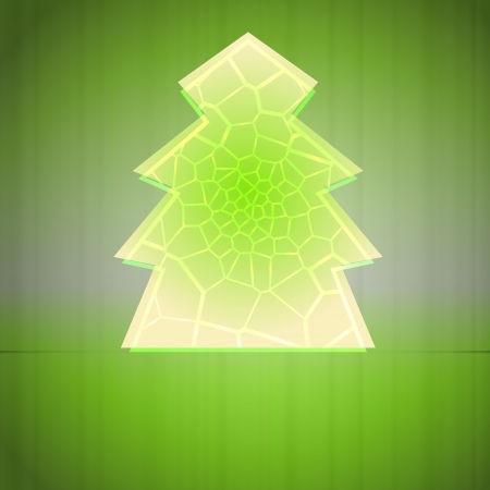 alighted: green alighted line network christmas tree vector card Illustration