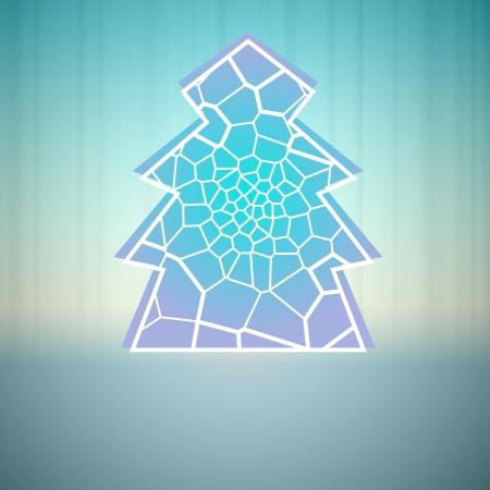 alighted: blue alighted line network christmas tree vector card Illustration