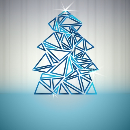 blue triangle outline christmas tree cluster vector card Vector