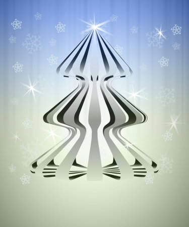 striped three dimensional christmas tree on blue silver vector card Vector