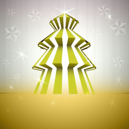 cool striped christmas tree on gold with stars glitter Stock Vector - 16420634