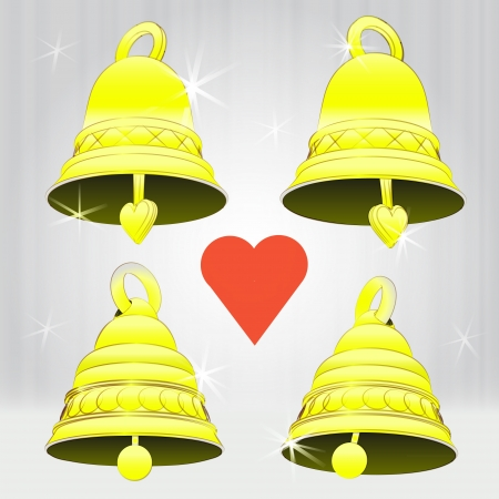 four glittering golden bell decoration vector pack illustration