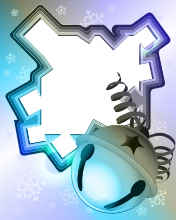 tinkle: magic blue shaded winter frame with snowfall and jingle bell vector illustration