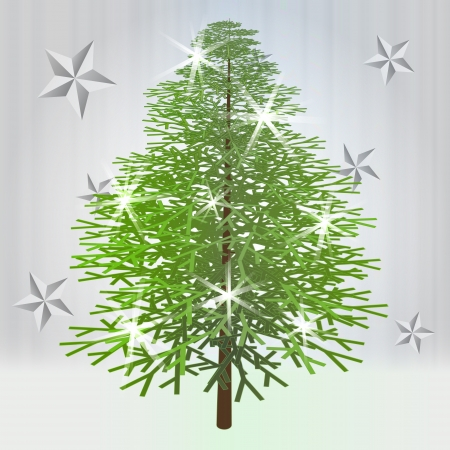 classical green christmas tree with stars on grey background vector illustration Stock Vector - 16690610