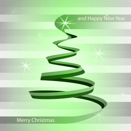 alighted: christmas green alighted tree swirl on grey