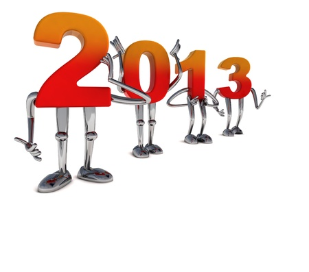 red orange 2013 numbers as fancy figures standing in pose Stock Photo - 16818493